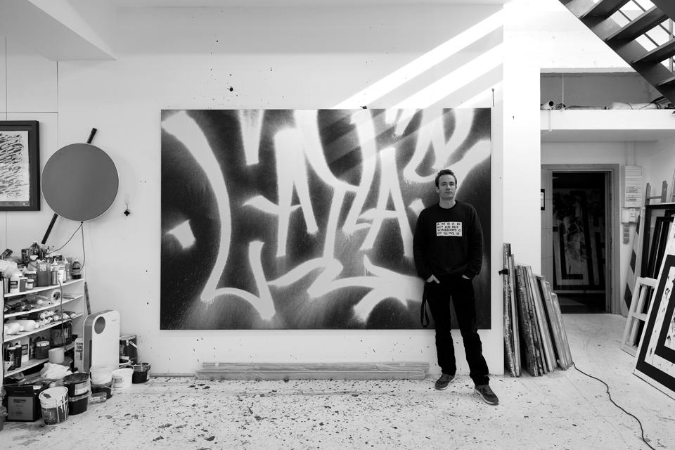 French artist L'Atlas in his studio in Les Lilas