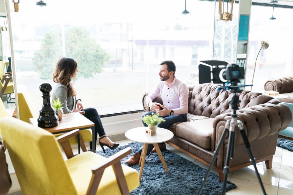 Reporter Interview Business Professional In Office