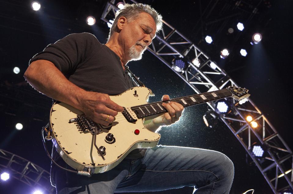 Van Halen guitarist Eddie Van Halen performs on stage at Hollywood Casino Amphitheatre. July 24, 2015 in Tinley Park, IL (Photo by Barry Brecheisen)