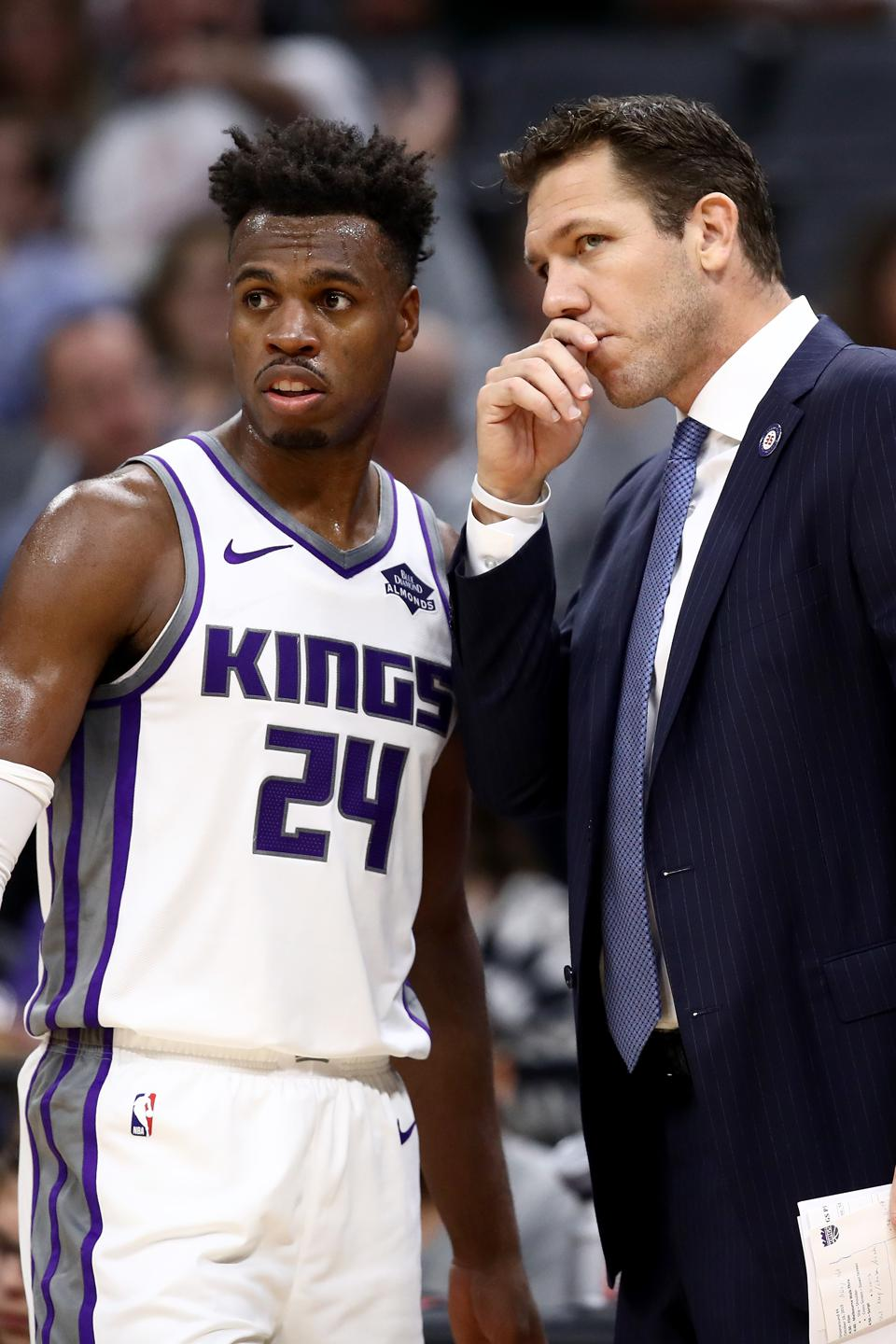 Melbourne United v Sacramento KingsSACRAMENTO, CALIFORNIA - OCTOBER 16:  Head coach Luke Walton of the Sacramento Kings talks to Buddy Hield #24 during their game against the Melbourne United at Golden 1 Center on October 16, 2019 in Sacramento, California. NOTE TO USER: User expressly acknowledges and agrees that, by downloading and or using this photograph, User is consenting to the terms and conditions of the Getty Images License Agreement. (Photo by Ezra Shaw/Getty Images)