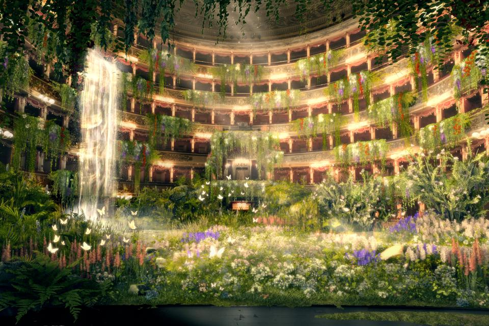 Teatro alla Scala opera house in Milan covered in grass, flowers and a waterfall