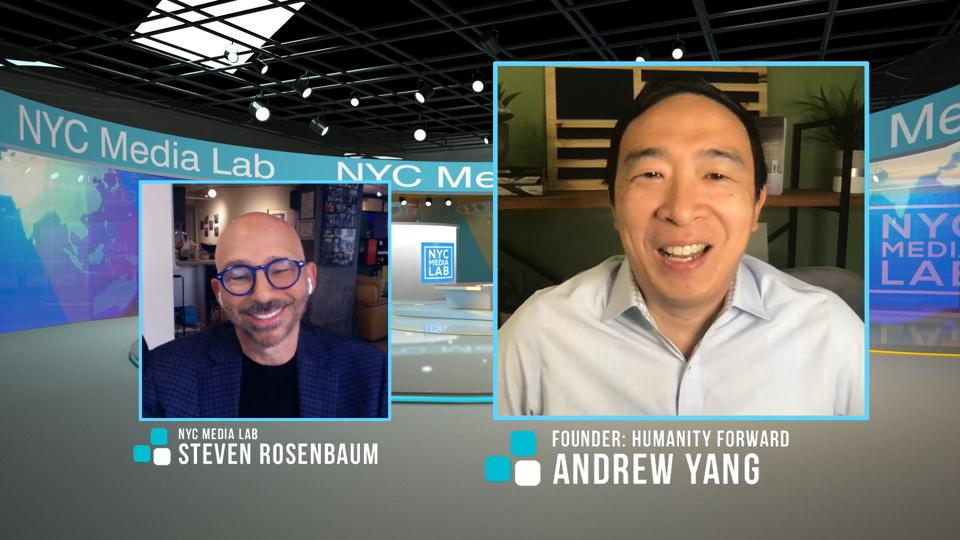 Andrew Yang and NYC Media Lab Executive Director Steven Rosenbaum