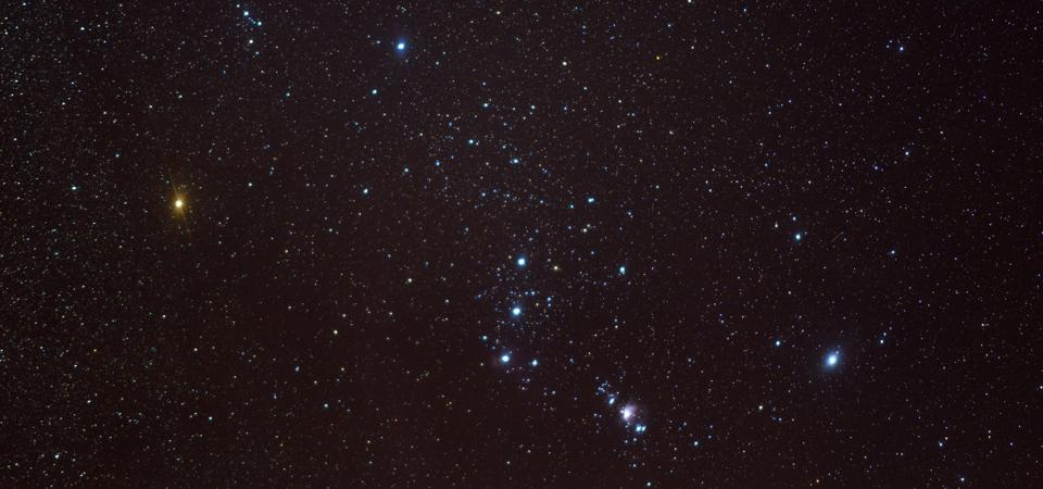 The constellation of Orion in the night  sky.