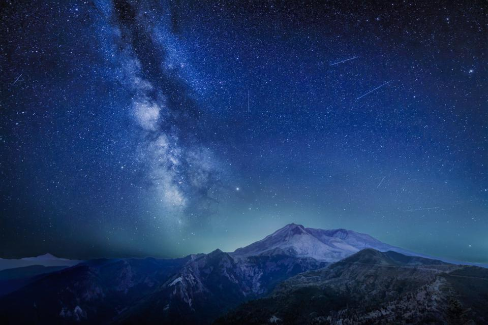 Meteors and the Milky Way over Mount St. Helens, Oregon.