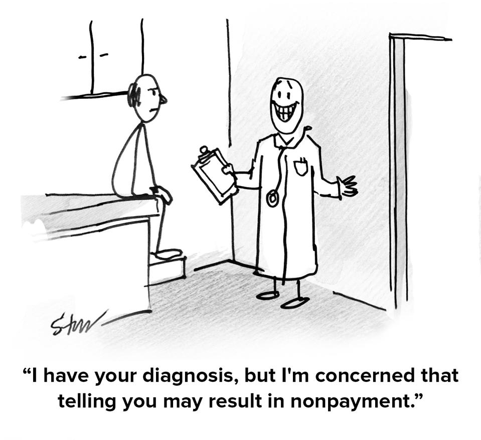 The doctor talking to a patient about payment.