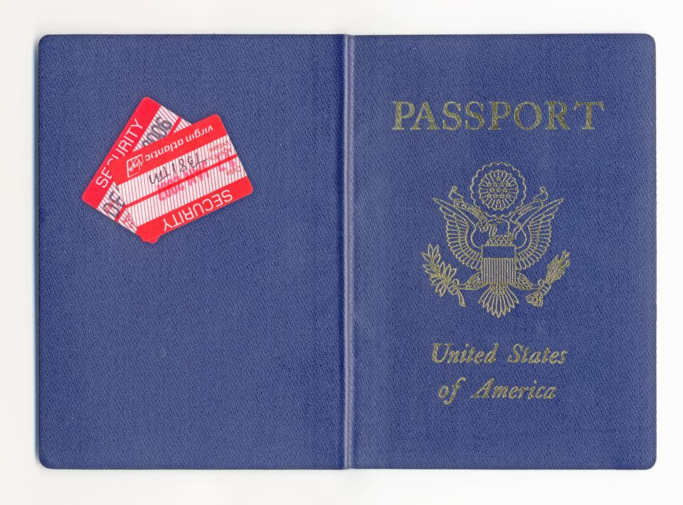 A facsimile of a U.S. passport.