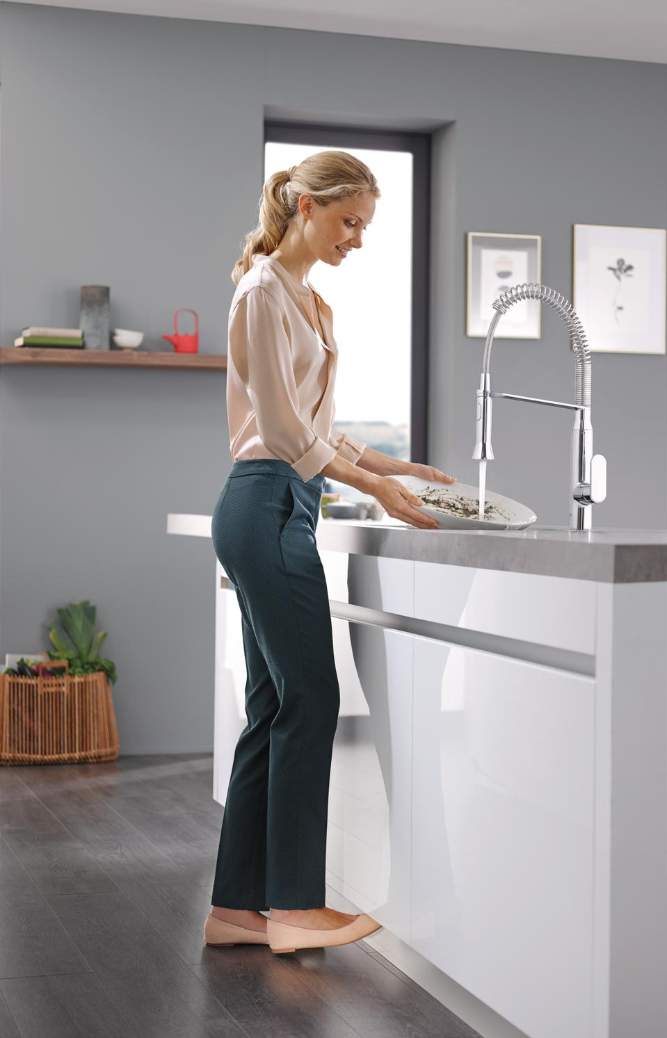 Another way to avoid touching the faucet is with foot activation as this one from Grohe demonstrates.