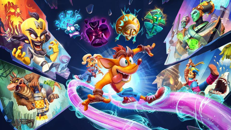 Crash Bandicoot 4 splash image featuring Crash, Coco, Neo Cortex, Tawna and more.