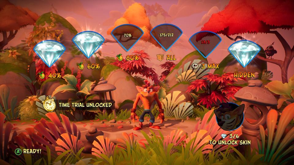 End of level gems in Crash Bandicoot 4.