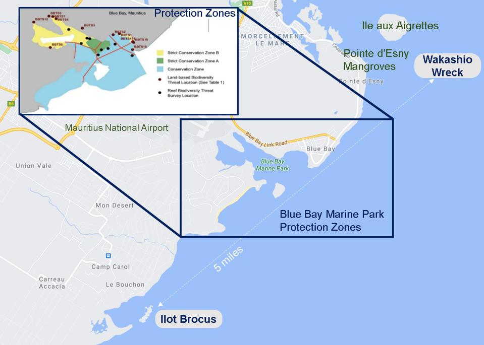 Blue Bay Marine Park Conservation Zones - Strict Conservation Zones A and B, with identification of Land and Reef Biodiversity survey locations clearly identified