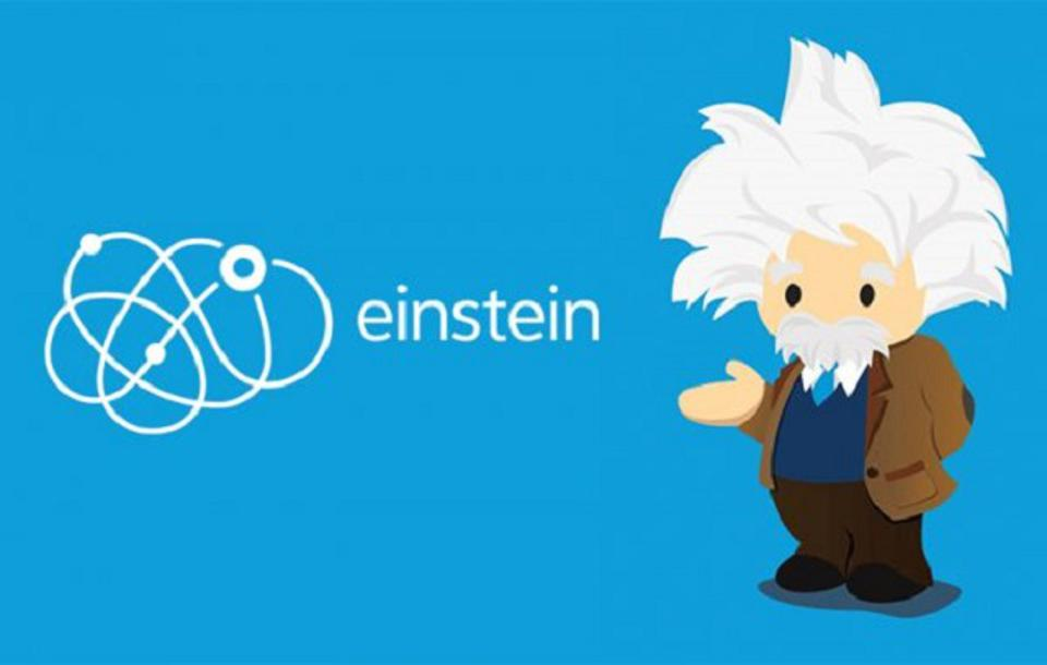 A logo of Einstein, a Salesforce data analytics brand.