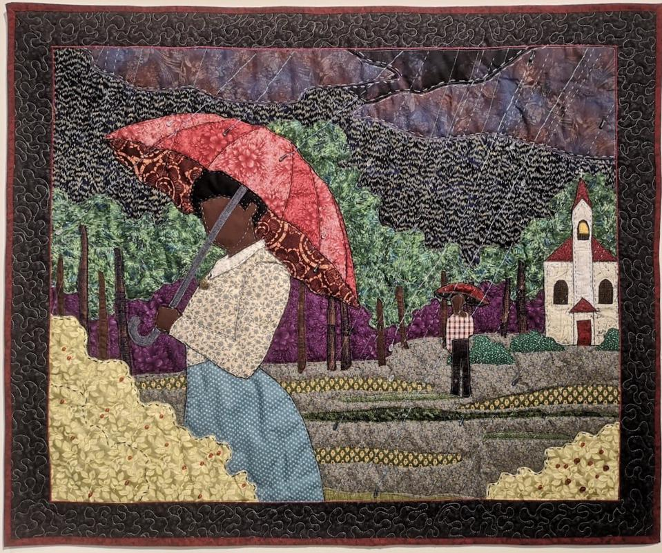 colorful quilted artwork
