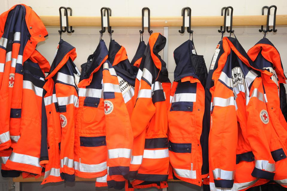 Germany - : jackets of paramedics in a German Red Cross DRK ambulance station
