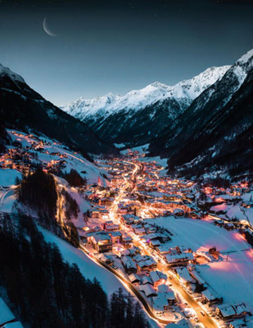 panoramic of Sölden ski resirt, Austria