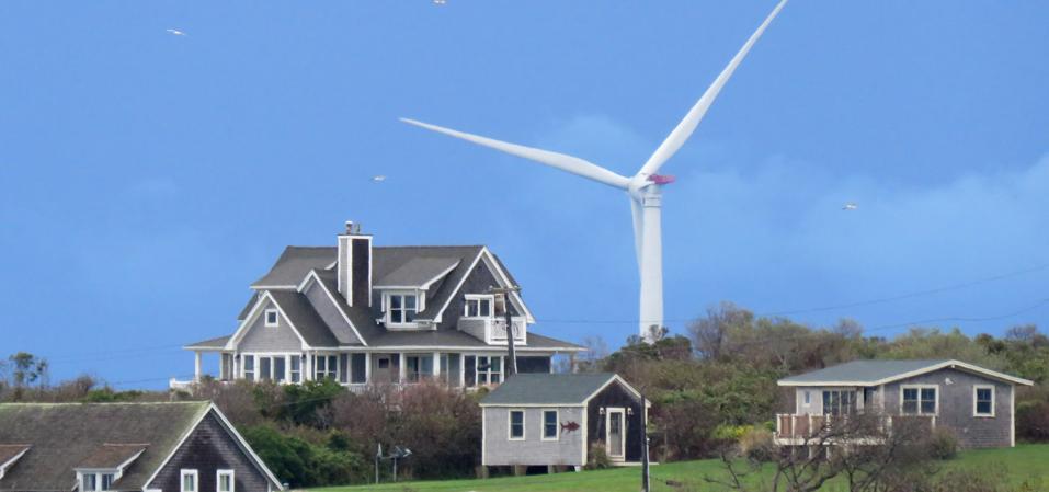 View of wind turbines off Block Island, Rhode Island in 2017