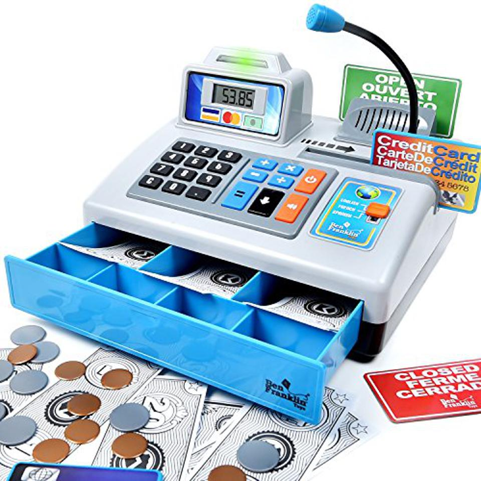 A toy cash register.