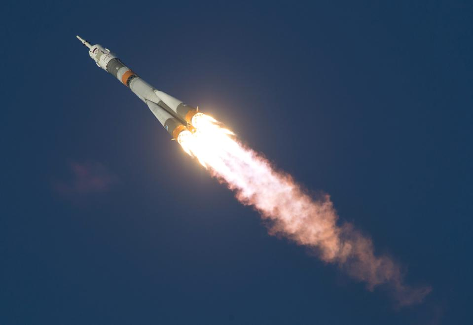 A Soyuz spacecraft lifts-off from Baikonur, Kazakhstan on its way to the ISS. (Photo by NASA/ Joel Kowsky via Getty Images)