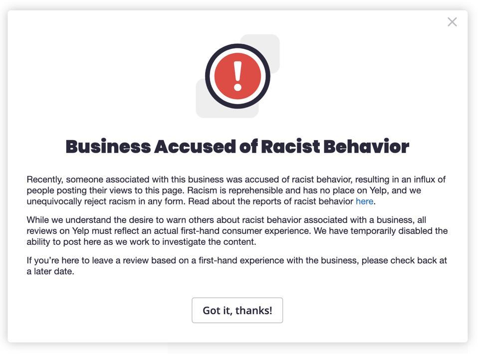 Business Accused of Racist Behavior