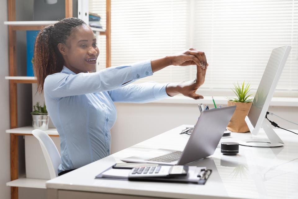 Businesswoman Stretching Her Hand