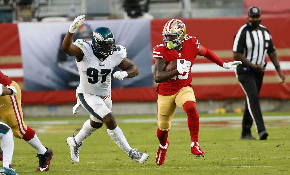 49ers wide receiver Deebo Samuel against the Eagles. He's questionable to go Week 5.