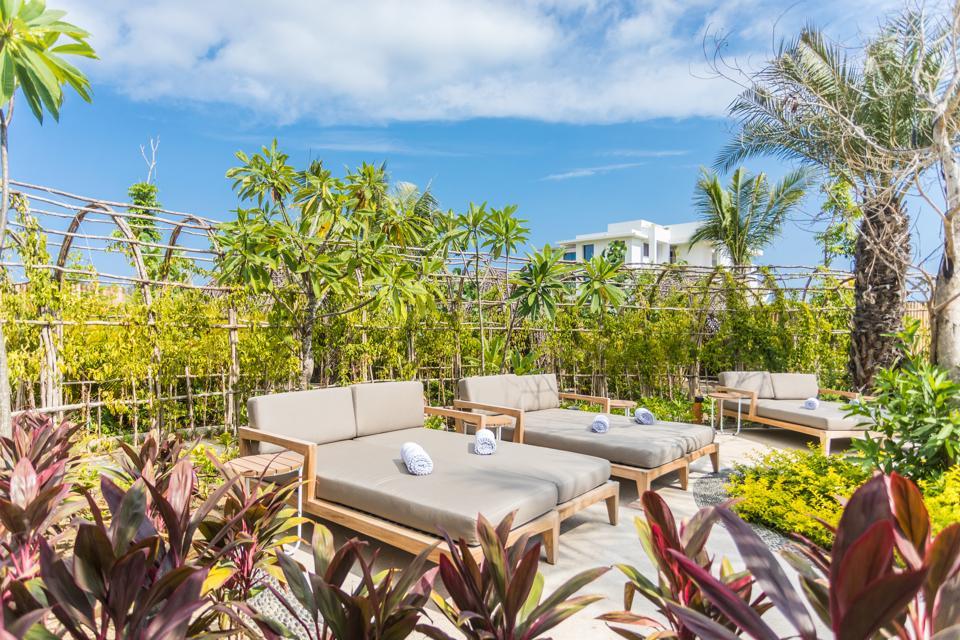spa chairs in garden