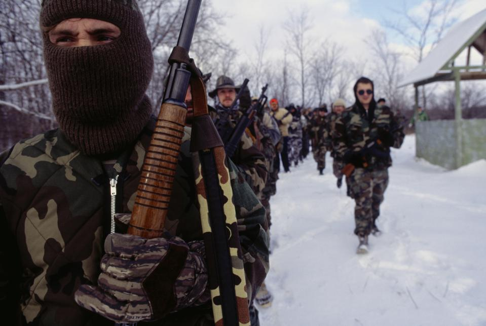 Armed Wolverines Militia Members During Winter Training Exercise