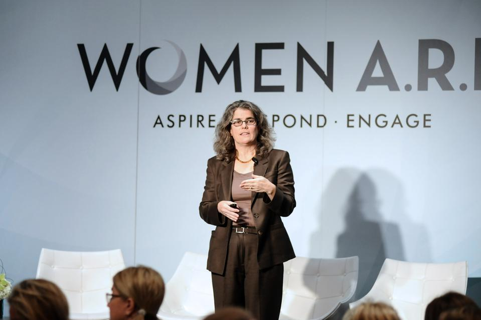 Andrea Ghez, 2020 Nobel Prize Winner on stage in Beverly Hills, California in 2013. WOMEN A.R.E Inaugural Summit Presented By PANDORA