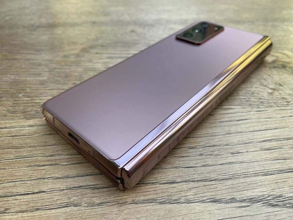 Samsung Galaxy Z Fold2 in Mystic Bronze.