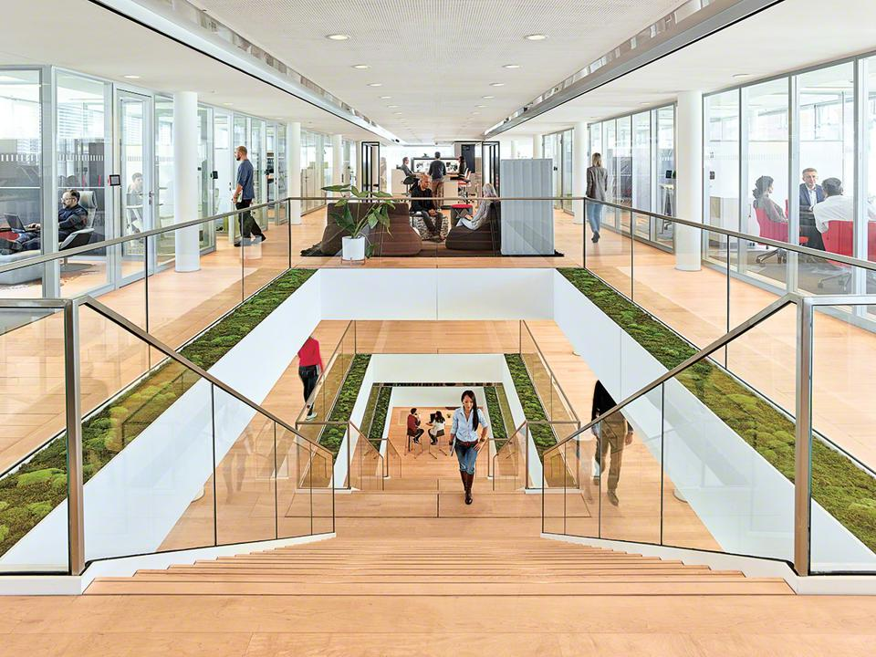 Stairwell in office with green accents and long view showing value of office for productivity and career growth.