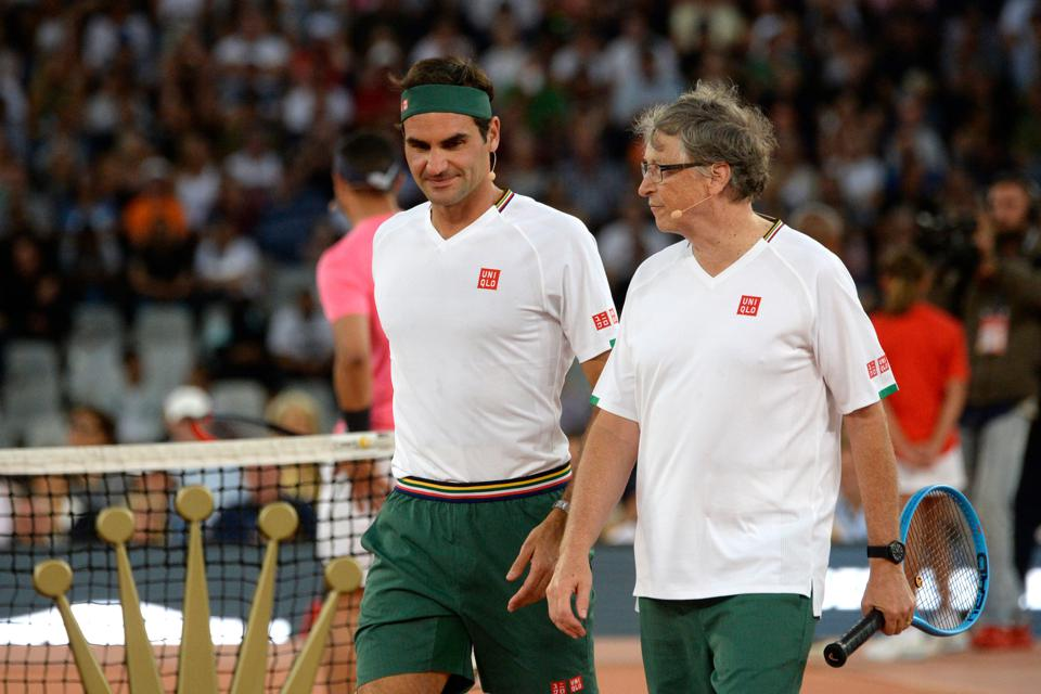 Bill Gates and Rodger Federer teamed up for a charity doubles tennis match.