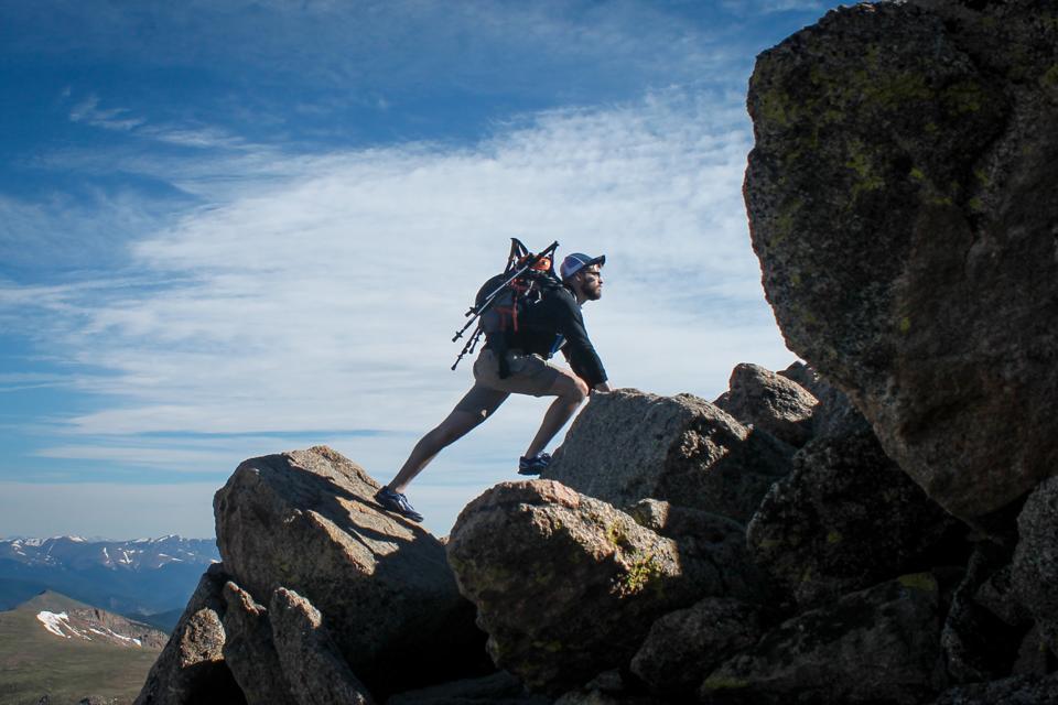 Man climbing on rocks