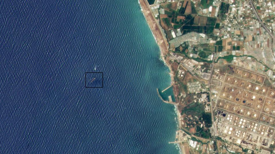 Satellite imagery showing a tanker in Syrian waters.