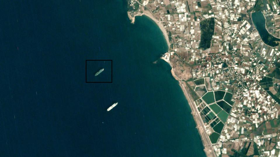 Satellite imagery showing two tankers in water in Syria.