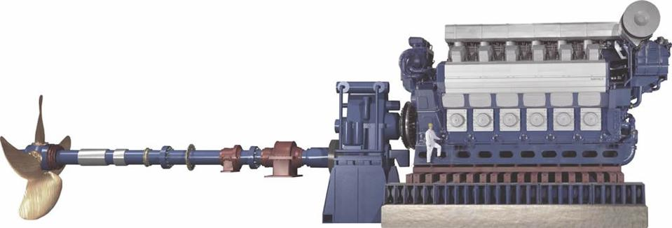 Overview of key components and scale of a ship engine that is likely to be used for the Wakashio (stroke, 6 cylinder engine)