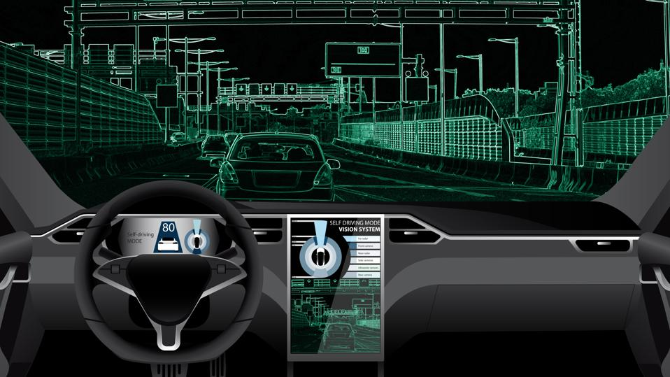 Digital display of a car dashboard, the road, and other vehicles in the area.