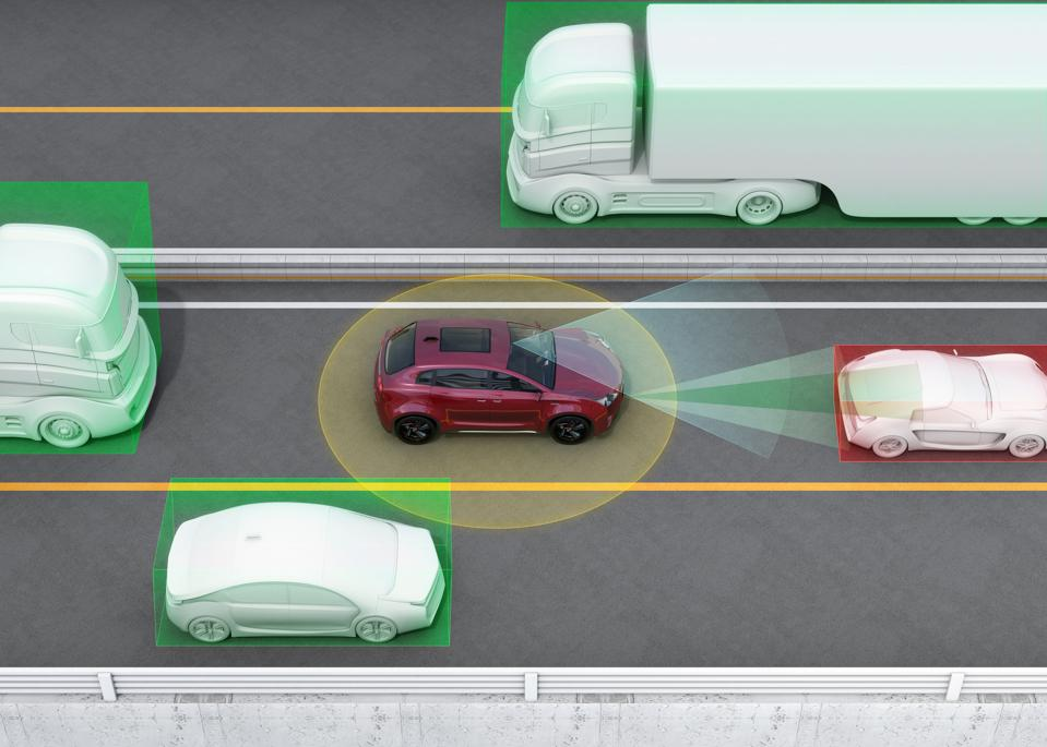 Self-driving car processing information on the vehicles near by it.