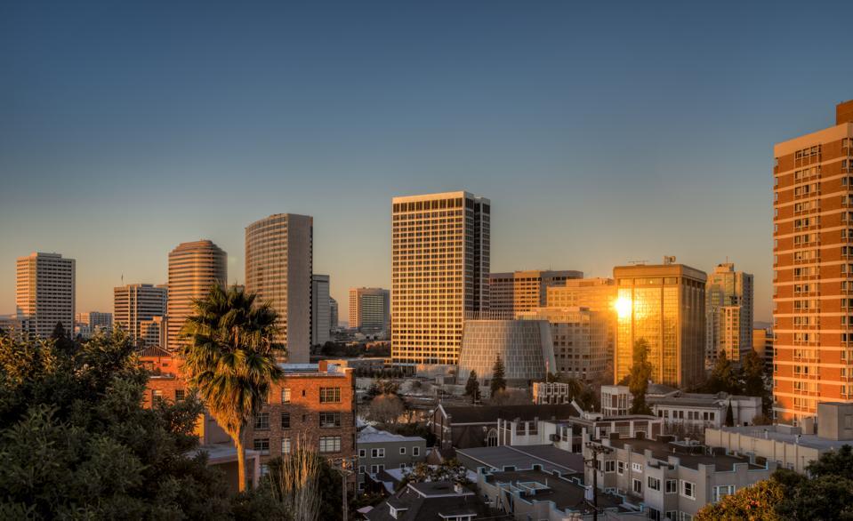 Skyline of Oakland at sunrise.