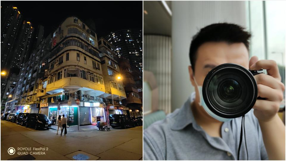 Ultra-wide angle photo (left) and selfie photo with the FlexPai 2.