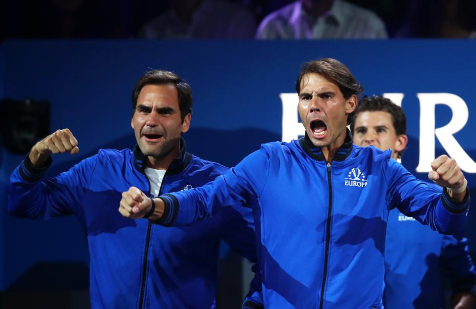 Roger Federer and Rafael Nadal celebrate during tennis' Laver Cup.