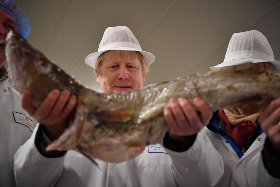 Britain's Prime Minister Boris Johnson holding a cod during a visit to Grimsby fish market, U.K.