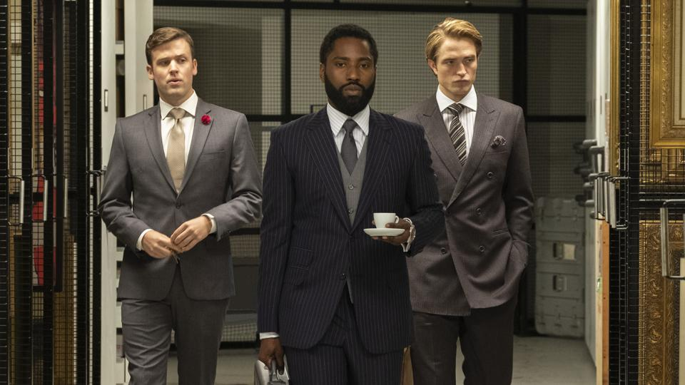 (L-r) JACK CUTMORE-SCOTT, JOHN DAVID WASHINGTON and ROBERT PATTINSON in Warner Bros. Pictures' action epic ″TENET,″ a Warner Bros. Pictures release.