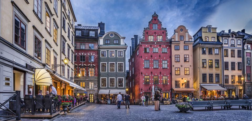 colorful buildings on a square in Stockholm
