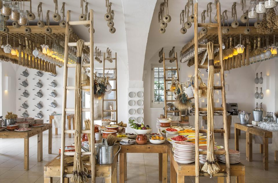 The restaurant decoration at Borgo Egnazia in Italy is all about multiples: ladders, ropes.