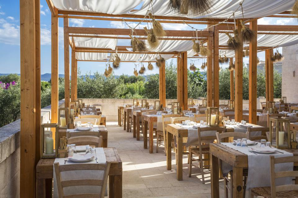 The restaurant La Frasca at Borgo Egnazia in Puglia, Italy, has outdoor dining under a sky