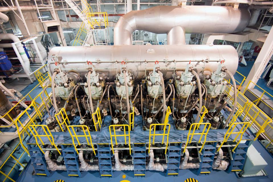 Ship engine rooms require increasing amounts of maintenance the older they get, especially for vessels over 10 years old.  Seen here, an engine room in a vessel that is less than 10 years old.