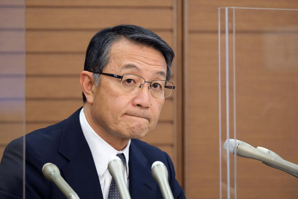 Mitsui OSK Lines President and CEO Junichiro Ikeda press conference on Wakashio on September 11, 2020.  MOl purchased the VLSFO but has now given different versions for how the Wakashio ended up on Mauritius' reefs.