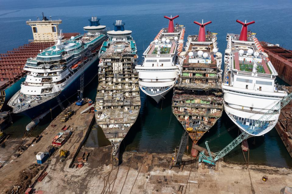 2 Oct 2020: cruise ships in Turkey being broken down and sold for scrap
