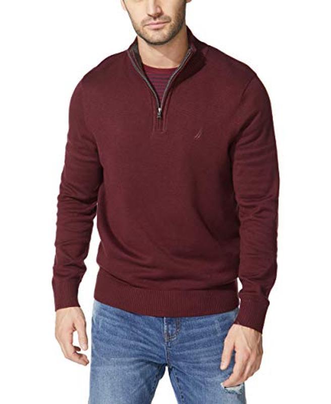 Amazon prime Day Nautica Men's Quarter-Zip Sweater, Royal Burgundy
