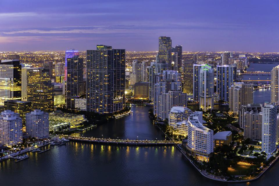 Evening Aerial View of Miami, Florida
