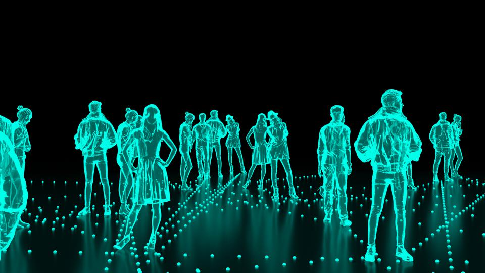 Human Hologram of people, crowd